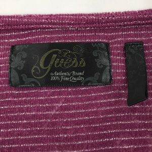 Guess Tops - Guess- Long sleeve plum/silver stripe v-neck tee